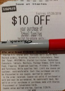 *FREE* $10 Off Staples School Supplies Coupon