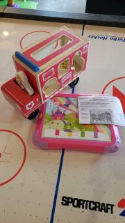Mickey Mouse wooden firetruck and lights and sounds laptop