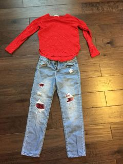 Gap weathered jeans and shirt