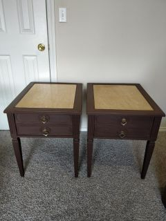 Set of 2 side tables with marble top