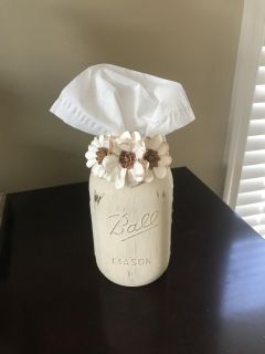 Chalk Painted Mason Jar Tissue Holder