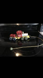 1950s wooden toy train with rope pulley cross posted