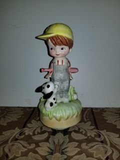 9 inch boy and dog baseball musical decor sings take out to the ball game