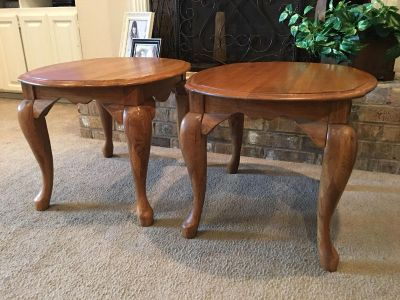Beautiful Solid Oak End Tables With Queen Anne Legs Sold Separately