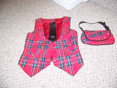 Girls Size Small Plaid Vest, Tie, and Purse