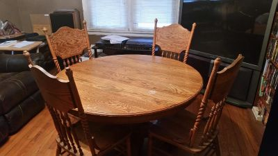 Old Oak Wooden Dining Room Table