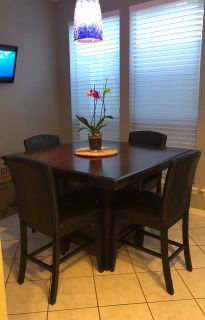 Counter Height Table & Upholstered Chairs