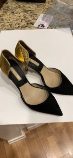 Michael Kors black suede & patent gold pumps