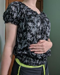 Black Blouse With White Flowers