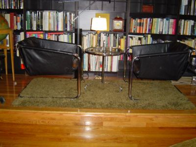 Thonet Mid Century Black Leather Sling Chairs-Pair