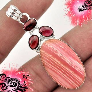 NEW - Pink Opal and Garnet 925 Sterling Silver Pendant (Includes a chain)