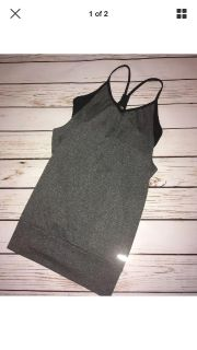 C9 By Champion Gray with black sports bra underneath top, size s