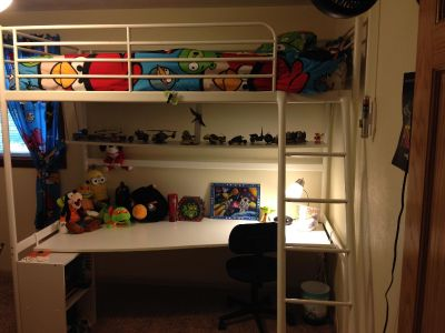 Loft Bed Frame with Desk Top (Mattress & Decorations NOT Included)