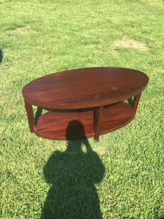 Modern Design, Solid Wood, Oval 2-Tier Coffee Table
