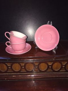 TWO PINK CUPS TWO SAUCERS