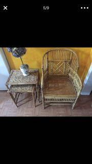 Mid century rattan bamboo chairs plus 2 stacking tables included