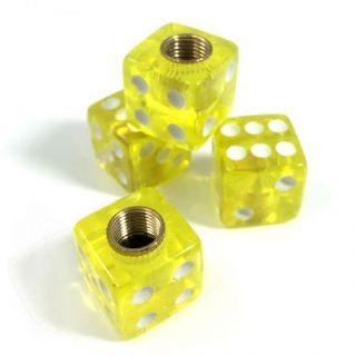 Find 4 Premium Clear Yellow Dice Tire/Wheel Air Stem Valve Caps for Car-Truck-Hot Rod motorcycle in York, Pennsylvania, United States