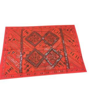 India Vintage Red Sari Tapestry With Miror Patchwork Wall Hanging Throw