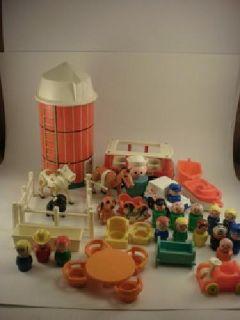 Vintage Fisher Price Wooden & Plastic People Silo, Mini Bus, Animals, Furniture