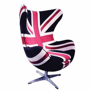 $1,400, UNION JACK EGG style egg desk chair-swivels and tilts back HIGH END-NEW