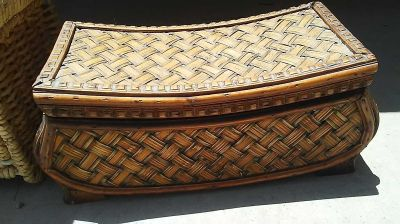 Wood and wicker designed box from World Market size 13 x 6 x 6 in $4