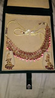 Beautiful necklace with diamonds and earrings