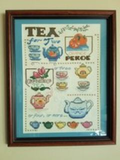 Teapot/cup cross stitched framed picture