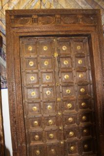 Indian Antique Teak & Brass Medallion Fish Carved Haveli Double Entry Doors