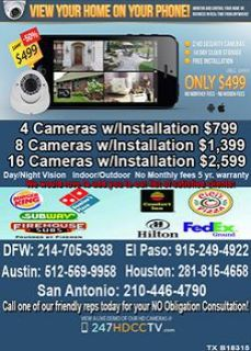 $496, 720p security camera system FREE INSTALL