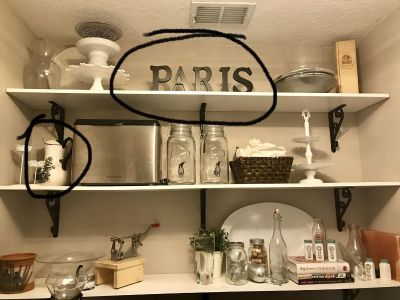 Paris sign and toile pitcher
