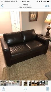 Brown leather couch loveseat