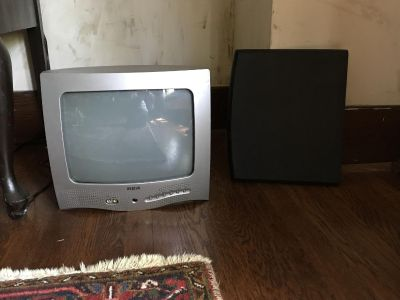 Table top color tv and rotating platform