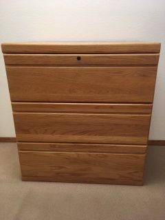 Three drawer Oak lateral file credenza