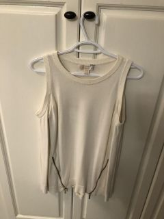 Beautiful Michael Kors Cut-Out Shoulder Top with Gold Hardware, Size M