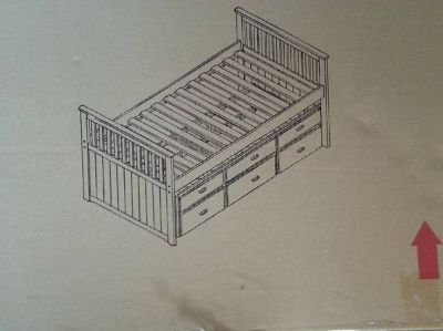 Twin captain bed with trundle and rails for drawers NIB