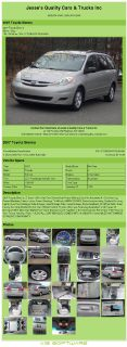 $6,992, 2007 Toyota Sienna Le Sport 138k Miles One Owner Dual Power Sliding Doors No Accidents Air Condition