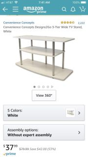 White 3 tier TV stand new in box