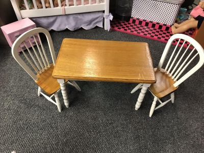 American girl size farmhouse table and two chairs