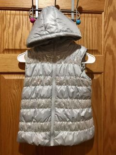 Heart N Crush Silver Puffy Vest with Hood and Silver Sequins. Size 8/10.