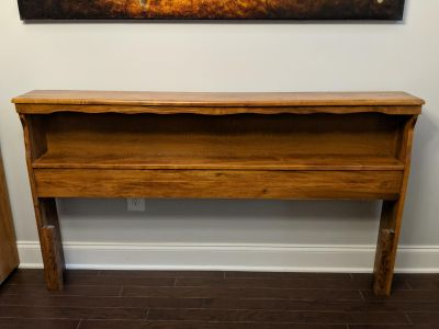 Wooden headboard with bookshelf and bed frame- queen