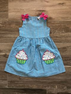 4T Rare Editions seersucker cupcake dress