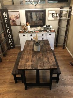 Solid wood kitchen or dining table and 2 benches