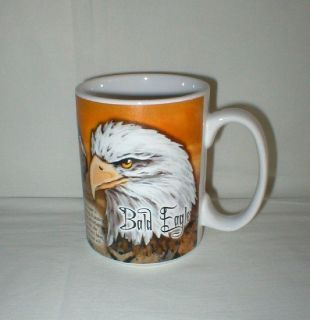 "Bald Eagle Coffee Mug Cup - History on Back - Wildlife - 4 3/4"" Tall"