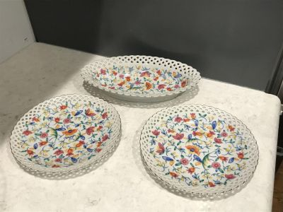 Bowl And 2 Plates From Germany. Bowl Is 10 x 6 And Plates Are 7 Around. Perfect Condition.