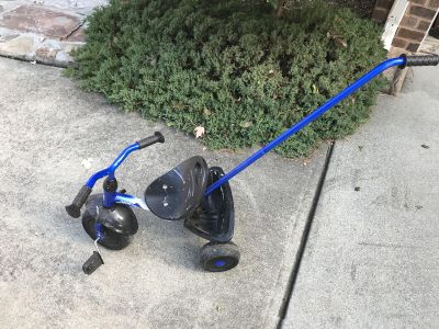 Falcon Toddler Bike Blue!! This is a fabulous bike. Got a little paint on it doesn t effect riding. Handle can detach. Cross post.