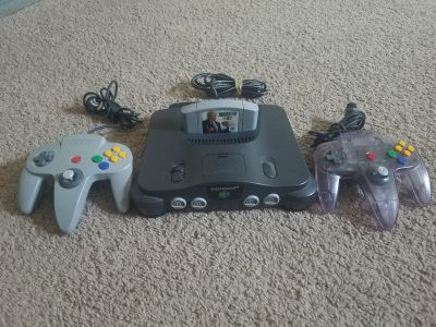 Nintendo 64 Game System and 2 Remote Controls