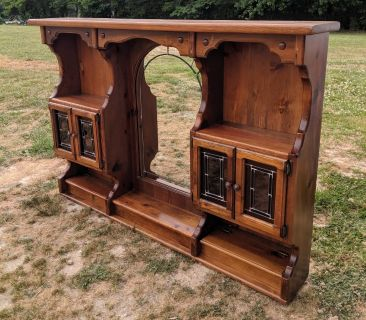 WOOD HUTCH TOP WITH MIRROR AND CABINETS