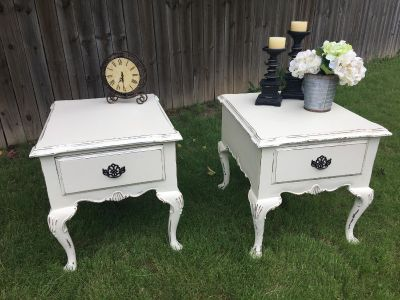 matching off-white side tables