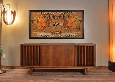 Large Framed Mid-Century Linen Screen Print Chario