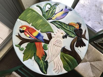 Tropical Hand-Painted Patio Table Set